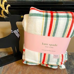 Kate Spade Oversized Twin Plaid Fleece Blanket
